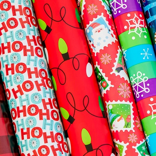 rolls of wrapping paper